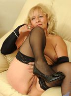 Black Heels And Stockings Older Woman - blonde