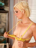 Blonde Showing Her Small Milf Boobs - blonde woman with itty bitty boobies